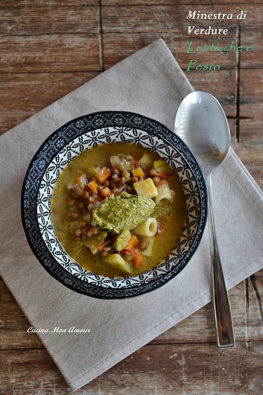 Minestra di Verdure Lenticchie e Pesto