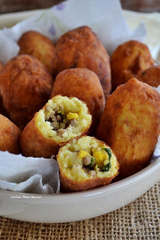Crocchette di patate con ripieno di carne